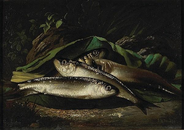 Samuel Marsden Brookes (American, 1816-1892) Fish, ca. 1870 10 x 14in