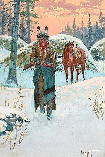 Noël Daggett (American, born 1925) Spring hunt; Game or foe (2) first: 17 1/8 x 10 1/4 in; second: 6 x 4 in