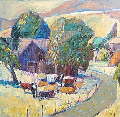 Lundy Siegriest (American, 1925-1985) View of a rural landscape 16 x 20in