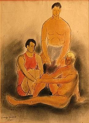 Oronzo Gasparo (American, 1903-1969) Three male figures sight 15 3/4 x 12in