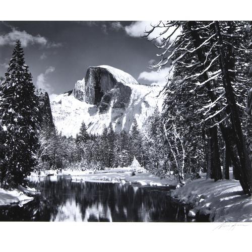 Ansel Adams, Half Dome; Morning,Merced River, 2 photos