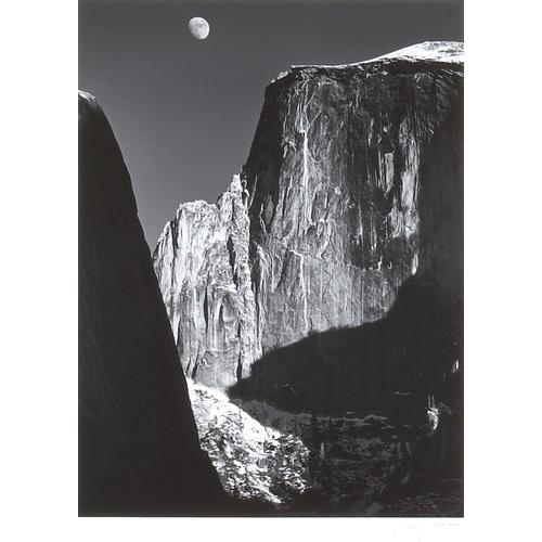 Ansel Adams, Moon and Half Dome, silver print