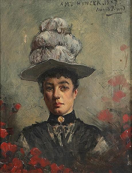 Edmond Picard (French, 1861-1899) A portrait of a lady in black wearing a white feather hat 10 7/8 x 8 1/2in