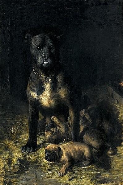 Vilhelm Theodor Fischer (Danish, 1857-1928) A doting mother 26 1/8 x 17 3/4 in (66.5 x 45 cm.)