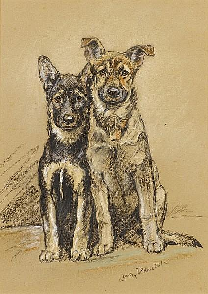 Lucy Dawson (British, -1954) Julie and Sandy, Alsatian puppies 16 1/8 x 11 in. (41 x 28 cm.)