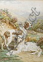 Basil Bradley, RWS (British, 1842-1904) An English Setter and a Pointer in a landscape 21 x 14 3/4 in. (53 x 37.5 cm.), Basil Bradley, Click for value
