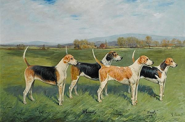 George Paice (British, 1854-1925) Prize Fox Hounds in a landscape each 20 x 30 in. (51 x 76 cm.)