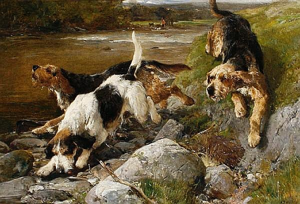 John Sargent Noble, RBA (British, 1848-1896) Otter Hounds 20 x 30 in. (50.5 x 76 cm.)