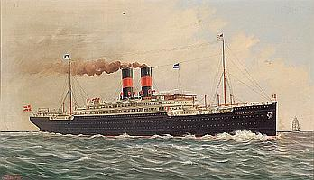 Ferdinand Worms (American, 1859-1939) The S.S. Frederick VIII of the Scandinavian American Line in calm seas 28 x 48 in. (71.1 x 122 cm.)