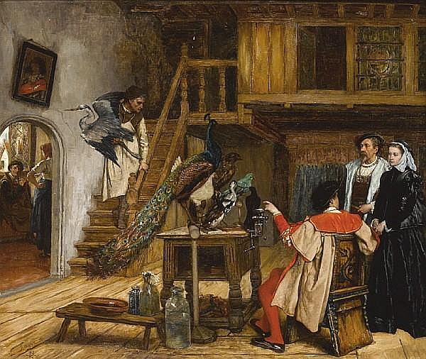 Victor Lagye (Belgian, 1825-1896) A visit to the taxidermist's atelier 27 1/2 x 32 1/4in (69.9 x 81.9cm)