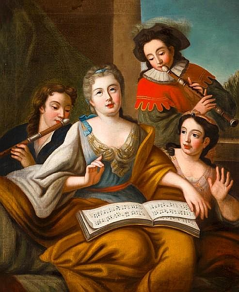 Follower of Jacques-François Courtin (Sens 1672-1752 Paris) The music lesson 43 1/4 x 36in (110 x 91.5cm)