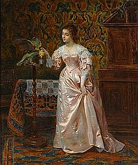Herman Maurice Cossmann (French, 1821-1890) Her favorite pet 23 1/4 x 19 1/2in (59 x 49.5cm)