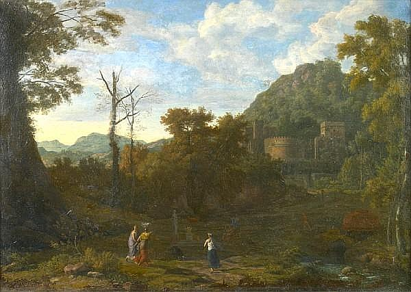 Johannes Glauber (Utrecht 1646-1726 Schoonhoven) Figures by a river in an Italianate landscape; Figures resting in a landscape with a village beyond (a pair) 24 x 34in (60.9 x 86.3cm)