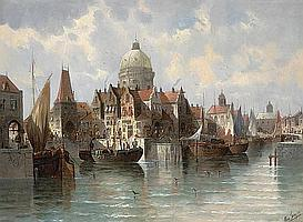 August von Siegen (German, born 1850) A view of Amsterdam 29 x 39 1/2in (73.7 x 99.9cm)