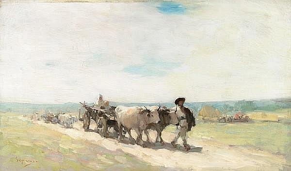 Nicolae Grigorescu (Romanian, 1838-1907) The bull cart 13 x 22in (33 x 55.8cm)