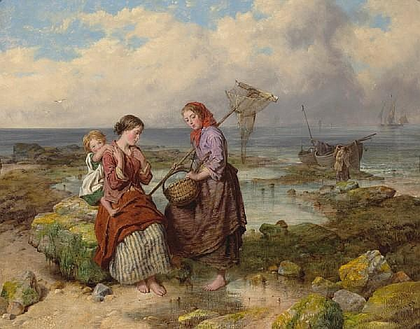 Isaac Henzell (British, 1815-1875) The young shrimpers 28 1/2 x 36 1/4in (72.4 x 92.1cm)