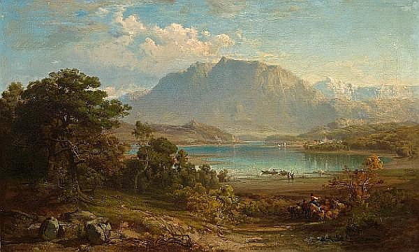Frederick Lee Bridell (British, 1831-1863) A view of Konigsee near Munich 19 x 31in (48.5 x 79cm)