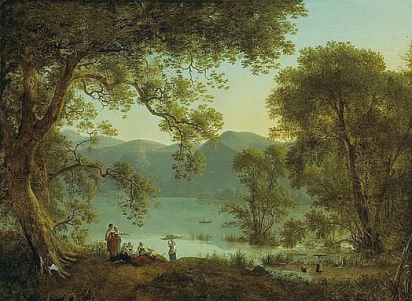 Martin Verstappen (Belgian, 1773-1853) An Italianate landscape with washerwomen resting under a tree 29 x 39 1/4in (73.7 x 99.6cm)