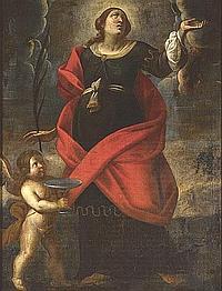 Circle of Alessandro Tiarini (Bologna 1577-1668) A female saint in supplication 50 x 38in (127 x 96.5cm)