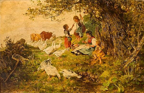 Antonis Matteo Montemezzo (Italian, 1841-1898) Children at play 8 1/2 x 13in (21.7 x 33cm)