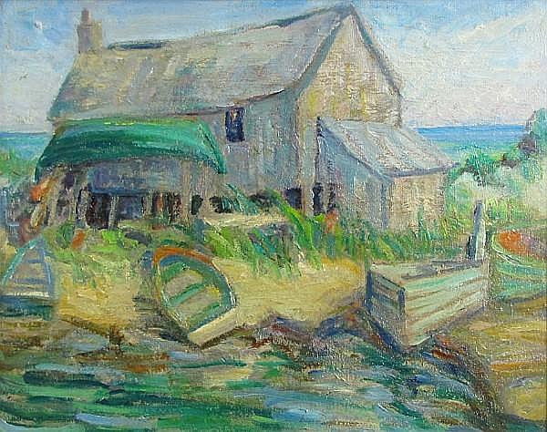 Alice Hathaway Hapgood Goodwin (American, 1893-1992) Horace's hut, Weekapaug, Rhode Island 16 x 20in