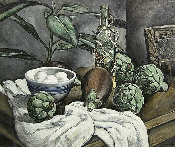 Henry Ernest Schnakenberg (American, 1892-1970) Still life with artichokes 24 x 30in