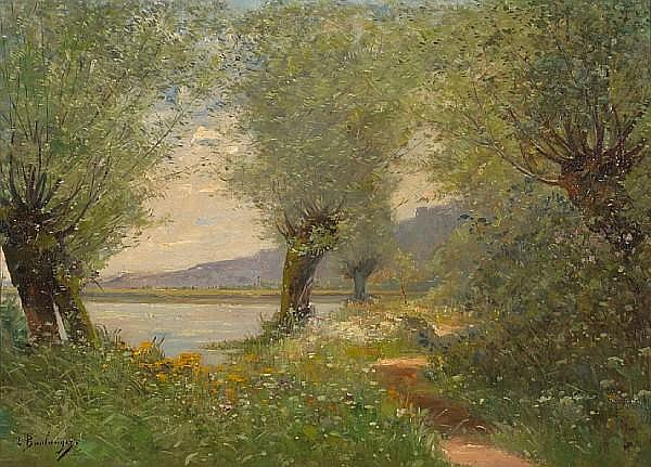 Louis Boulanger (French, 1806-1867) A river landscape 15 x 21 3/4in