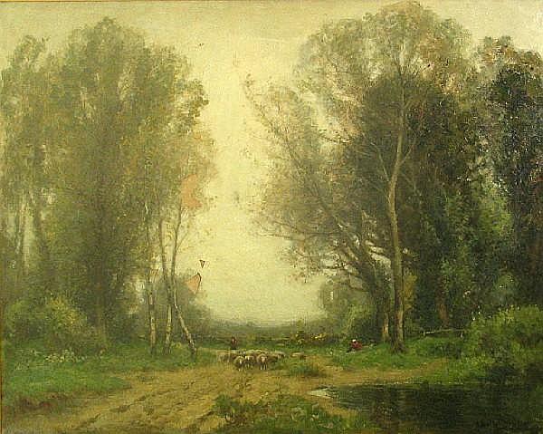 John Noble Barlow (British, 1861-1917) Early Spring, Lamorna Valley in Cornwall 40 x 50in