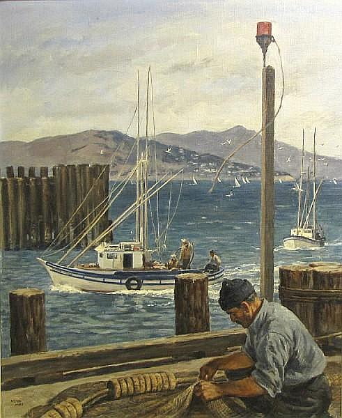 Michel M. Kady (American, 1901-1977) Fisherman mending a net, San Francisco 29 x 24in
