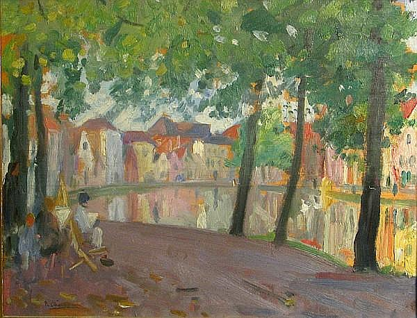 Paul Charavel (French, 1877-1961) Bruges, 1927 10 1/2 x 13 3/4in