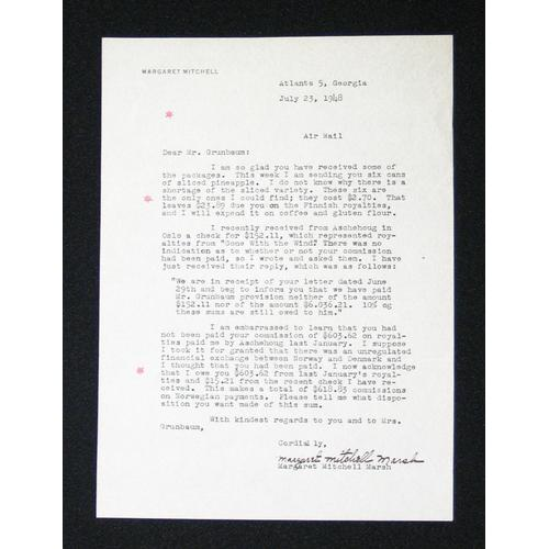 Margaret Mitchell, letter signed, 1948,