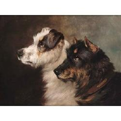 John Arnold Wheeler (British, 1821-1903)Terriers; a King Charles spaniel and a retriever a pair, both signed, oil on board each 9 1/2 x 12in. (24 x 30.5cm.) (2)