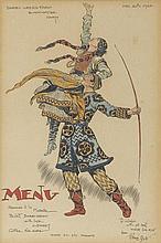 BULL, RENÉ. 1872-1942. Original pen and ink and watercolor, Prince Igor,