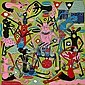 George Lilanga di Nyama (Tanzanian, 1934-2005) Vijana Wanafanyiwa dawa ili safari yao ifanikiwe 39 3/8 x 39 3/8in (100 x 100cm) unframed, George Lilanga, Click for value