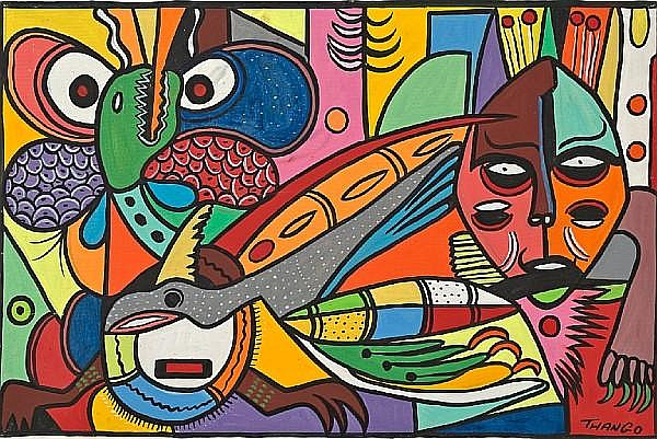 Francois Thango (Congolese, 1936-1981) Mythical beasts 23 x 34 1/4in (58.4 x 87cm) unframed
