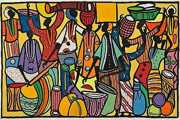 Francois Thango (Congolese, 1936-1981) Market scene 24 x 35 1/4in (61 x 89.5cm) unframed
