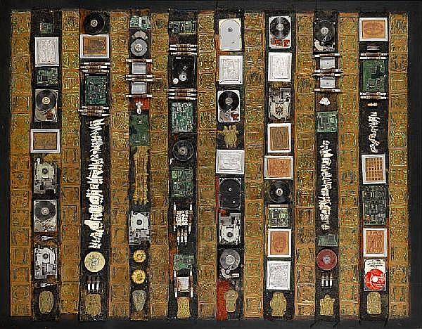 Bruce Onobrakpeya (Nigerian, born 1932) Environmental regeneration 60 1/4 x 77 3/16in (153 x 196cm) unframed