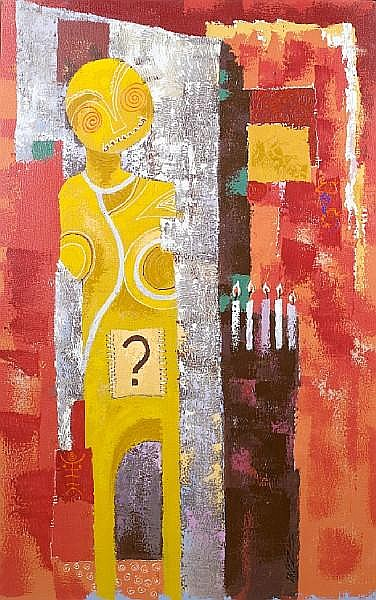 Wisdom (Wiz) Kudowor (Ghanaian, born 1957) The celebrant 60 1/4 x 37 13/16in (153 x 96cm)