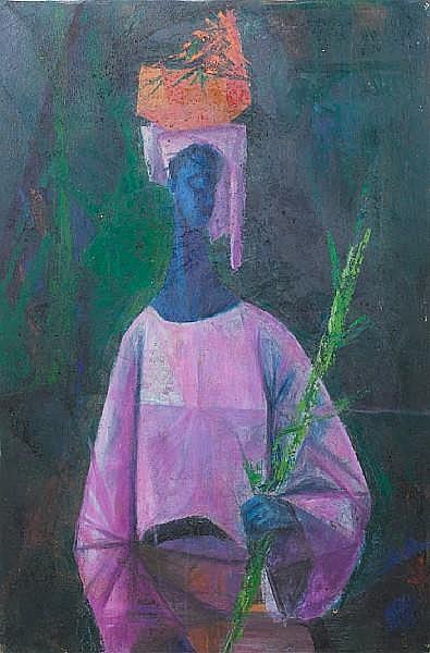 Yusuf Adebayo Grillo (Nigerian, born 1934) Harvest 37 3/8 x 24 5/8in (95 x 62.5cm)