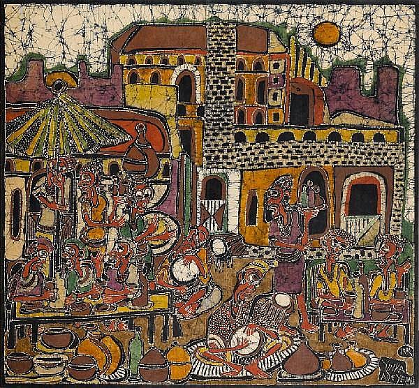 Yinka Adeyemi (Nigerian, born 1941) Village scene III 63 9/16 x 69 1/2in (161.5 x 176.5cm)