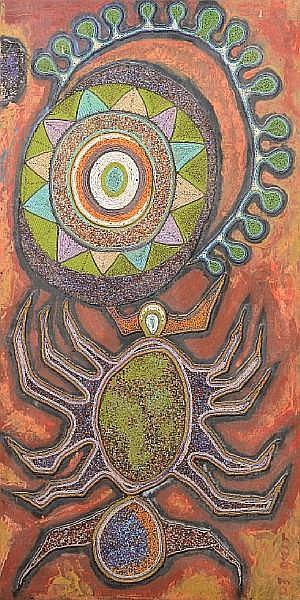 Chief Jimoh Buraimoh (Nigerian, born 1943) Spider 48 1/4 x 24in (122.5 x 61cm)