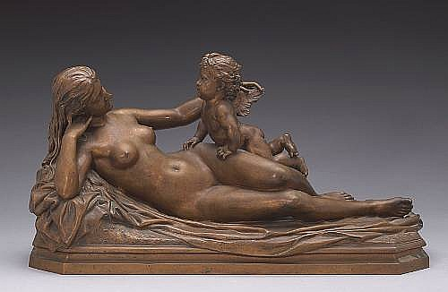 A French patinated bronze figural group of Venus and Cupid