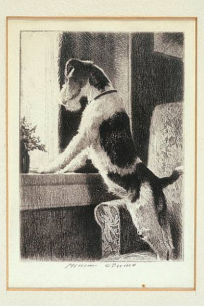 Morgan Dennis (American, 1892-1960) Waiting at the window, and Play with me: two sight of each 5 x 3 1/2 in. (12.6 x 8.9 cm.)