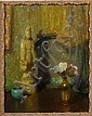 Theodore N. Lukits (American, 1897-1992) Still life with an Asian theme 20 x 16in, Theodore Nicolai Lukits, Click for value