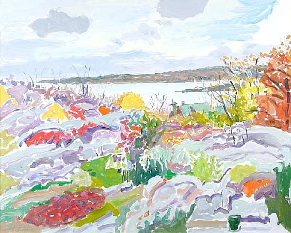 Nell Blaine (American, 1922-1996) Rocks and Outer Harbor, October, 1981 32 x 40 1/4in