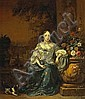 Jan Weenix (Dutch, 1640-1719) A portrait of a lady, full-length, seated in a garden with her dog 35 x 29 1/2in (88.9 x 74.9cm)