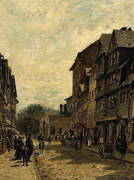 Paul Andorff (German, 1849-1920) A busy street scene 10 1/2 x 8 1/4in (26.7 x 21cm)