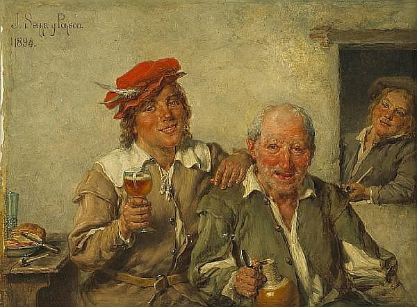 José Serra y Porson (Spanish, 1824-1910) Good friends 7 3/4 x 10in (19.6 x 25.4cm)