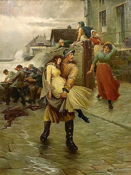Walter Jenks Morgan (British, 1847-1924) To the rescue 72 x 54in (182.8 x 137.1cm)