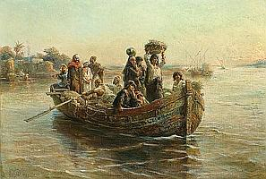 Paul Dominique Philippoteaux (French, 1845-1923) Figures in a boat on the Nile 21 x 31in (53.3 x 78.4cm)